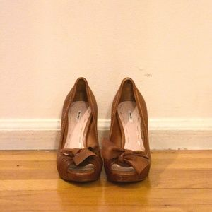 Miu Miu Brown Leather Heels with Bow Size 37